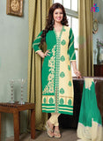 NS11513 Beige and SeaGreen Lawn Straight Suit