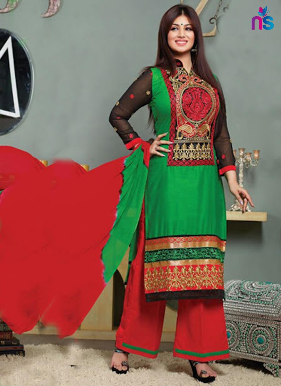 NS11514 Green and Red Lawn Straight Suit