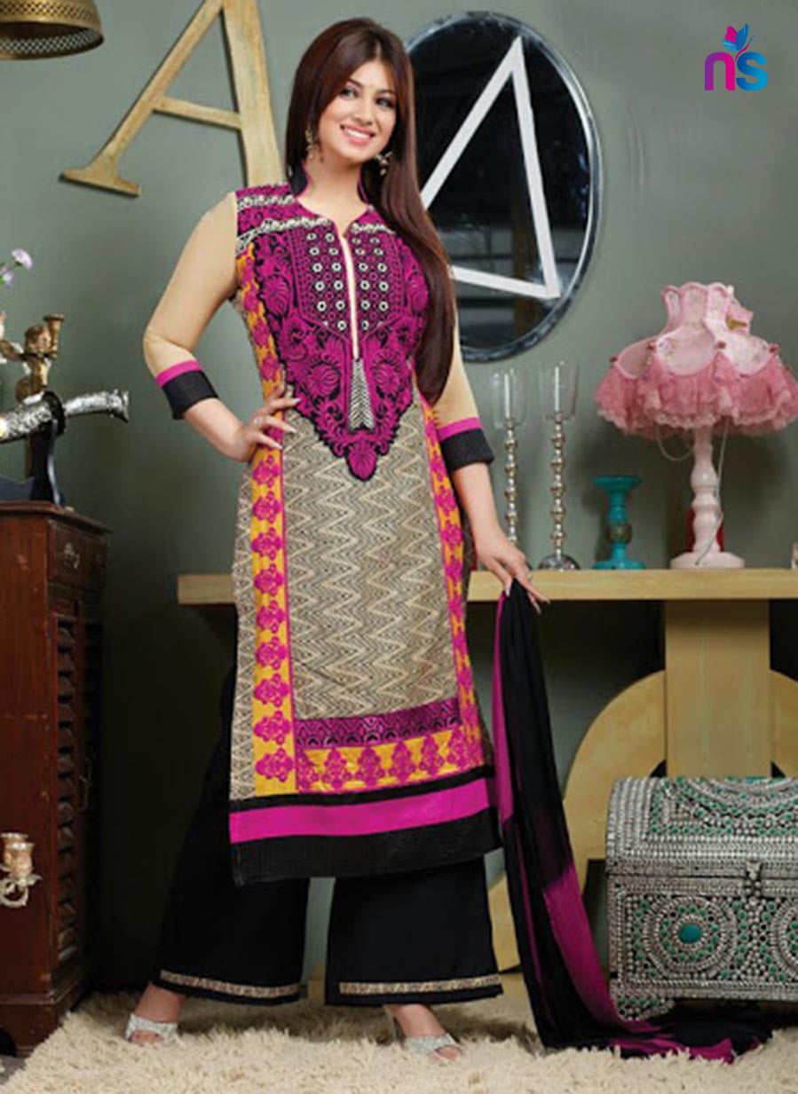 NS11517 Magenta and Black Lawn Straight Suit
