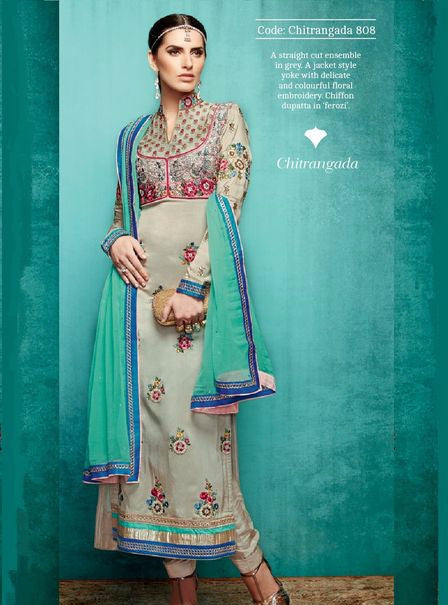 NS10947 Beige Color Tussar Silk Long Designer Suit