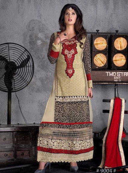 NS10948 Yellow Color Georgette Long Designer Suit