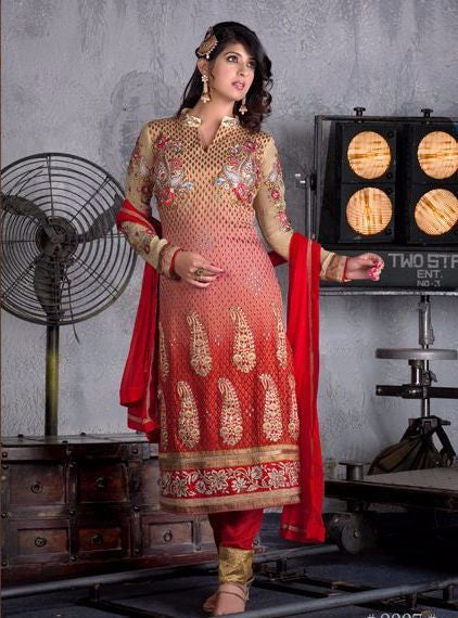 NS10611  Beige & Red Color Georgette Long Designer Suit