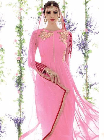 NS10950 Pink Color Georgette Designer Suit