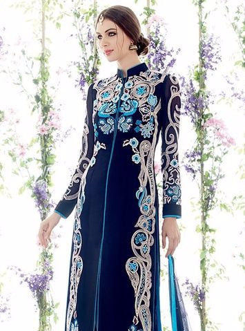 NS10953 Blue Color Georgette Designer Suit