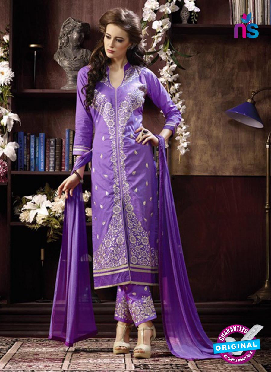NS10957 Purple and Beige Cotton Party Wear Straight Suit