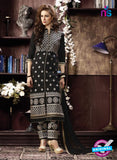 NS10954 Black and Bronze Cotton Party Wear Straight Suit