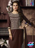 NS10959 Dark Brown and Ivory Cotton Party Wear Straight Suit