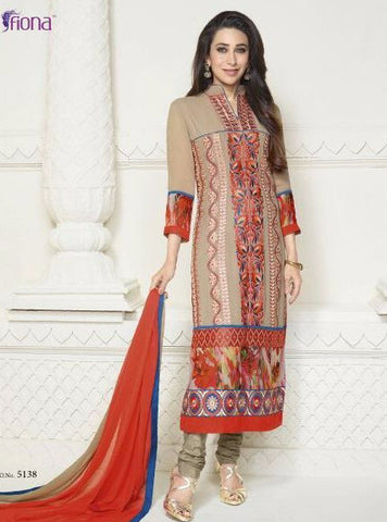 Krishma Kapoor Collection 5138  Beige Color Cotton Kota Doria Long Designer Suit