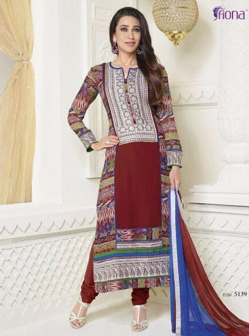 Krishma Kapoor Collection 5139  Maroon Color Cotton Kota Doria Long Designer Suit