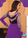 NS10848 Purple and Golden Georgette Anarkali Suit Online