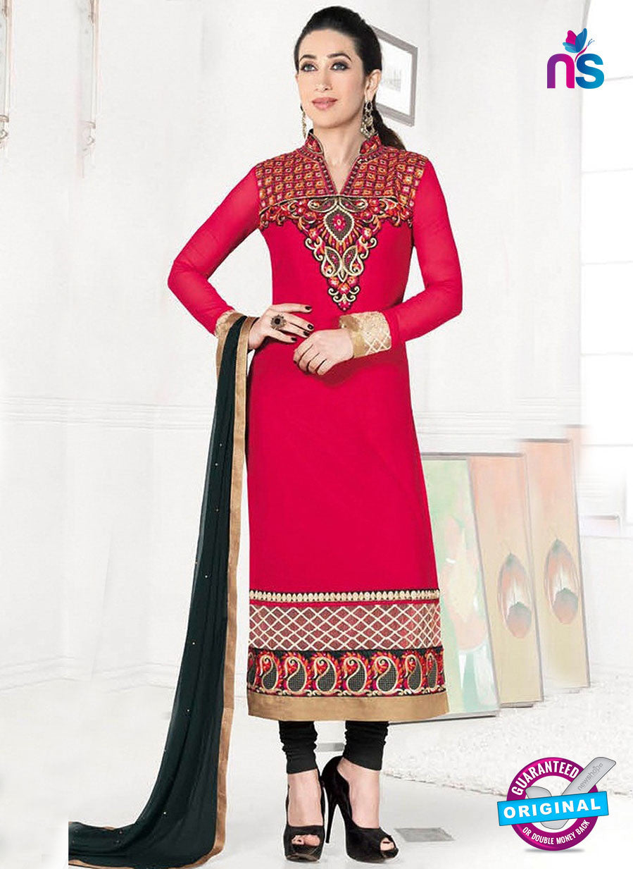 NS10849 Pink and Black Heavy Georgette Straight Suit