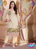 NS10874 Ivory And Magenta Lawn Cotton Pakistani Suit