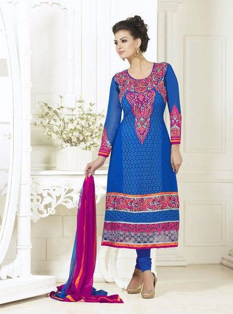 London Dreams 7001  Blue Color Georgette Long Designer Suit with Dupatta