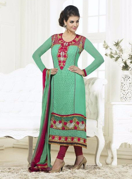 London Dreams 7004 Sea Green Georgette Long Designer Suit with Dupatta