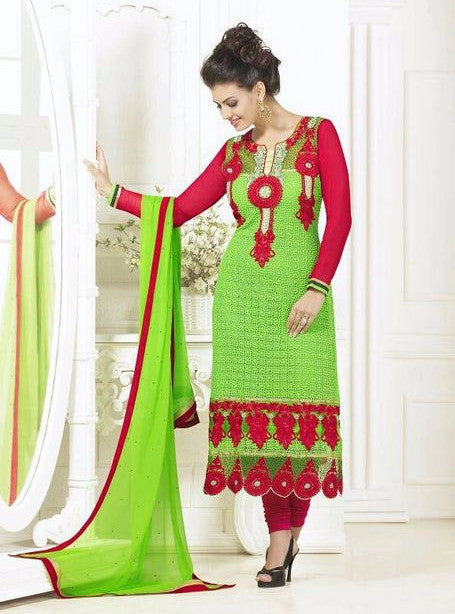 London Dreams 7005  Green Georgette Long Designer Suit with Dupatta