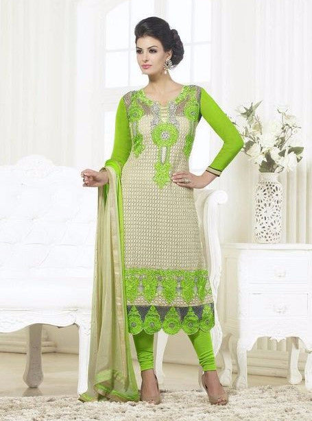 London Dreams 7010  Beige& Sea Green Georgette Long Designer Suit with Dupatta