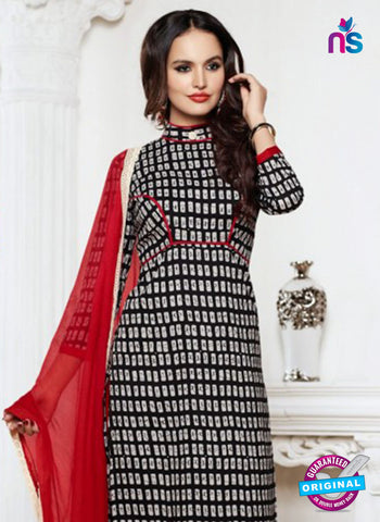NS 12007 Black and Red Designer Pajami Suit