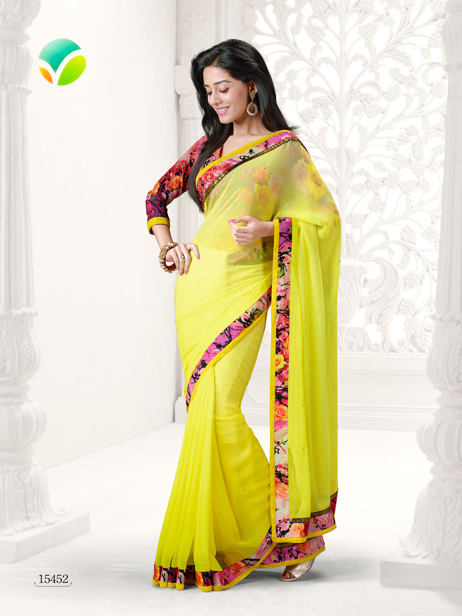 Vinay Fashion Star Walk 15452  Yellow and Pink Georgette Party Wear Saree