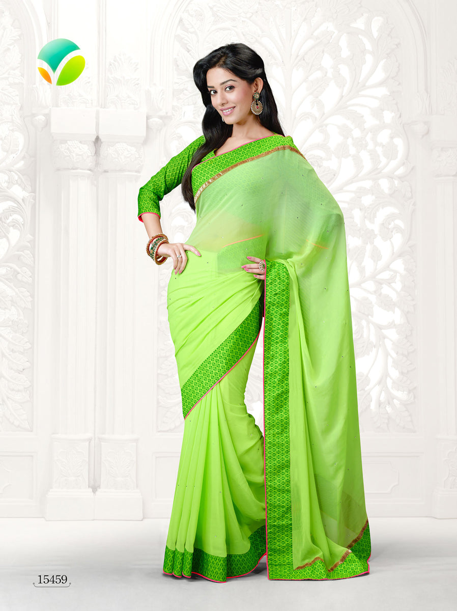 Vinay Fashion Star Walk 15459  Green Georgette Party Wear Saree