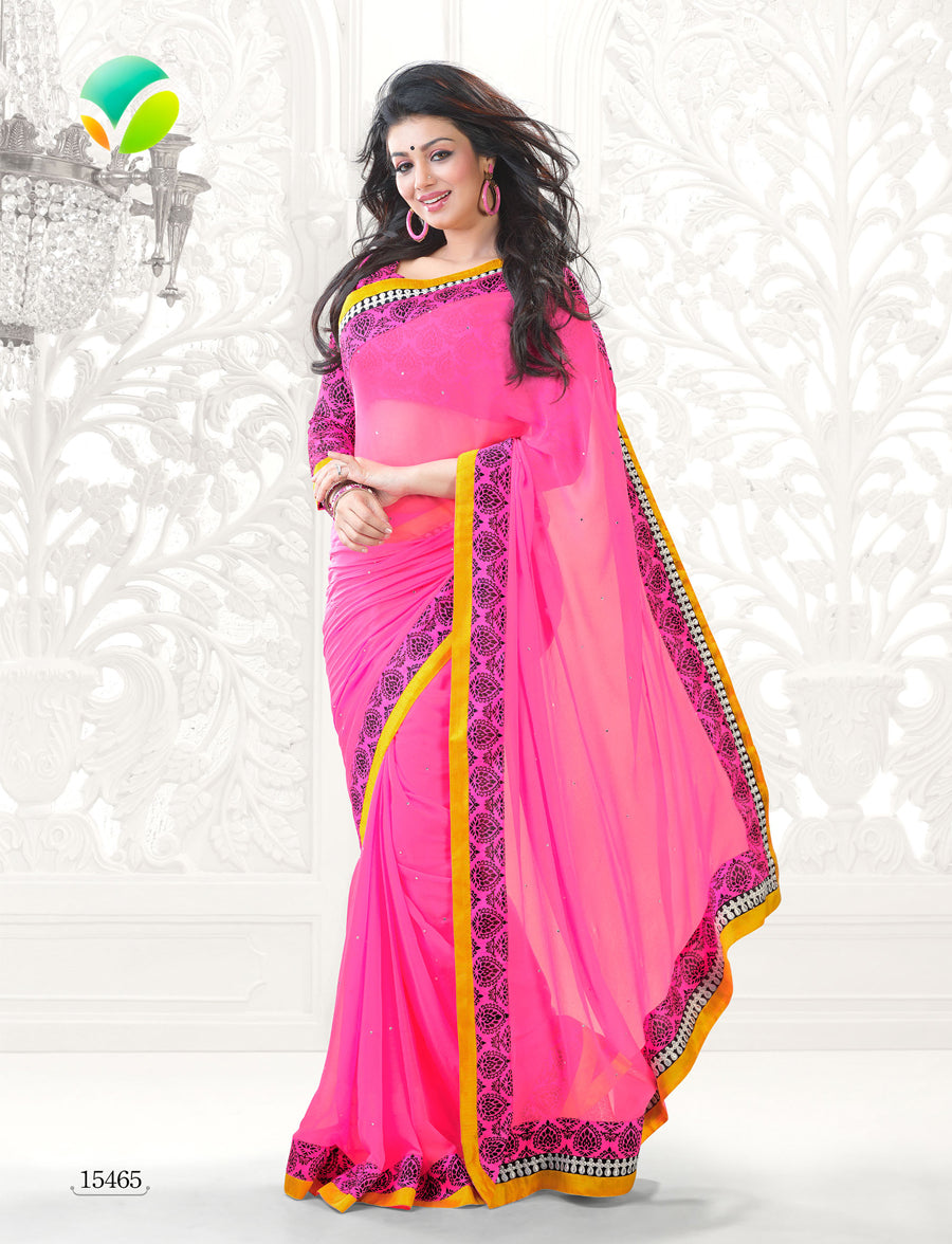 Vinay Fashion Star Walk 15465  Pink Georgette Party Wear Saree