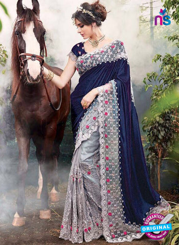 mz 3809 grey wedding saree