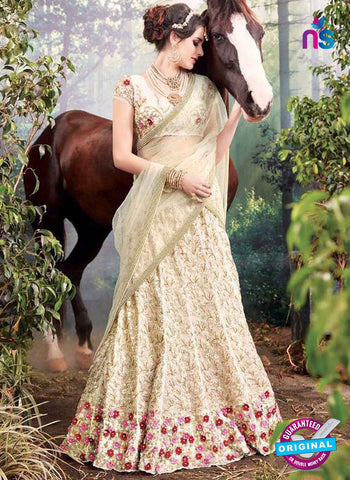 mz 3812 beige wedding saree