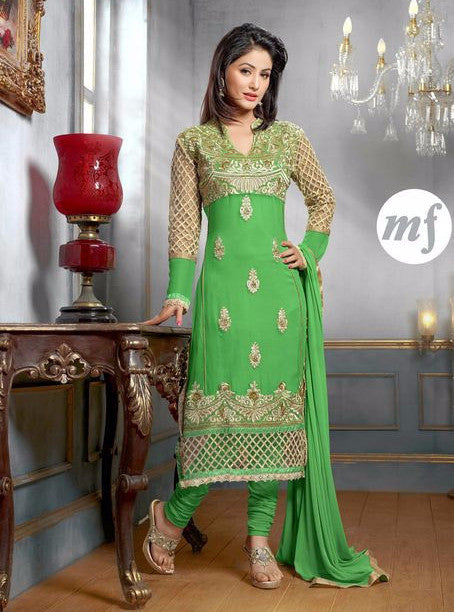 MF 34006 Green Color Georgette Designer Suit