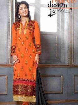 MF 34007 Orange Color Georgette Designer Suit