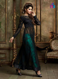 NS11058 Black and AquaBlue Heavy Net Party Wear Maisha Suit