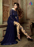 NS11059 DarkBlue and Beige Heavy Net Party Wear Maisha Suit