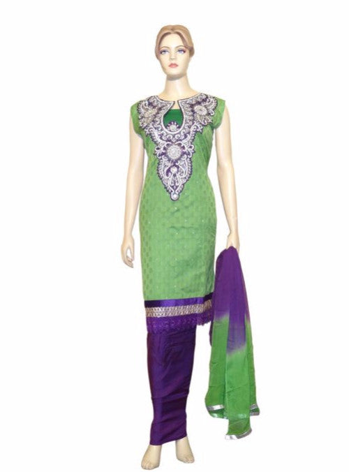 Maple 1019  Green Color Chanderi Designer Suit