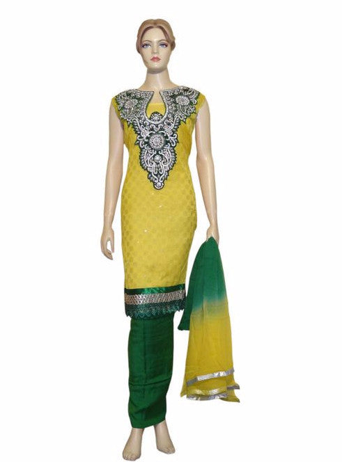 Maple 1021  Yellow Color Chanderi Designer Suit