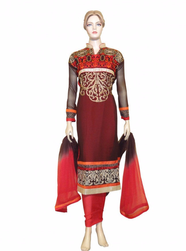 Maple 1028  Red Color Georgette Designer Suit