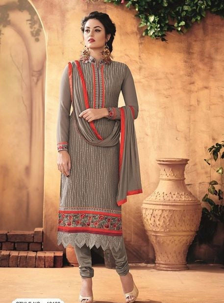 Maple 12102  Grey Color Georgette Long Designer Suit