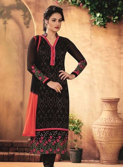 Maple 12104  Black Color Georgette Long Designer Suit