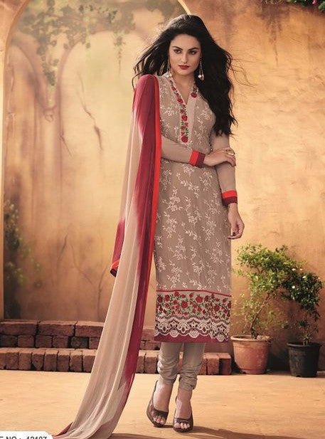 Maple 12107  Beige Color Georgette Long Designer Suit