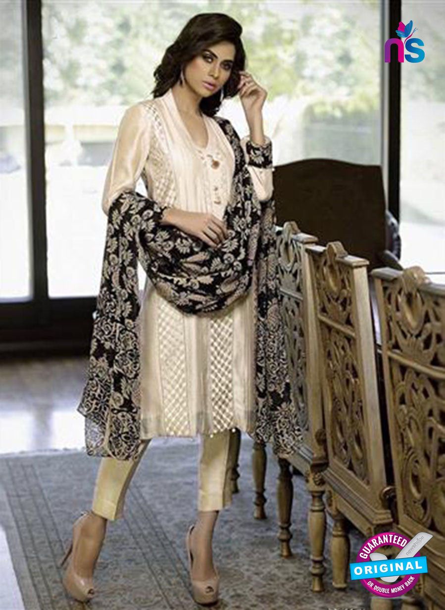 NS11081 Beige and Black Party Wear Silk Chudidar Suit