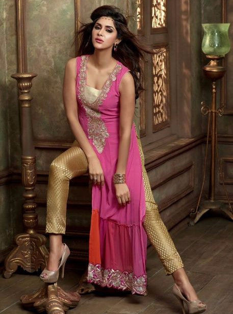 Maskeen 2405  Pink & Beige Color Georgette Designer Long Suit