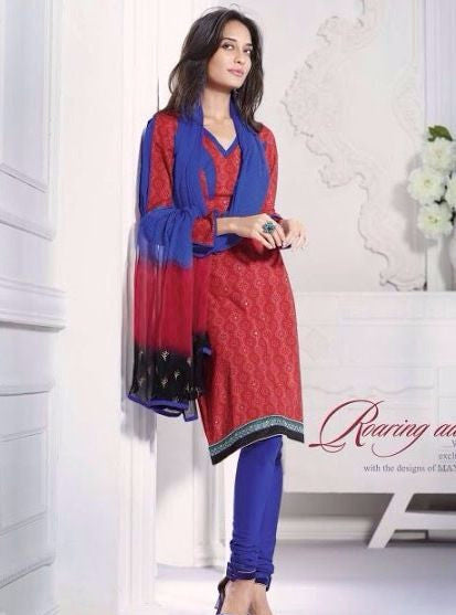 Mayur 3628 Red & Blue Color Cotton Designer Suit