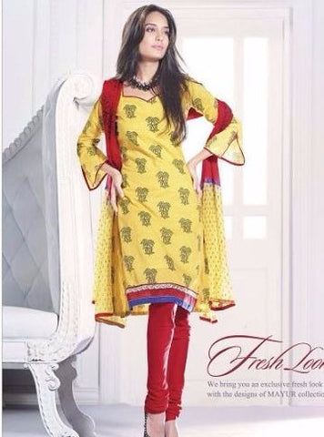 Mayur 3633 Yellow Color Cotton Designer Suit