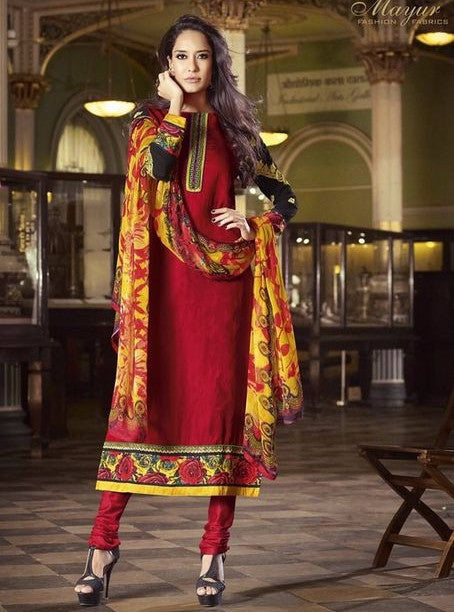 Mayur 525 Red Color Glaze Cotton Long Designer Suit