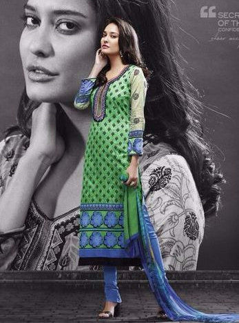 Mayur 546 Green Color Pakistani Style Cotton Designer Suit