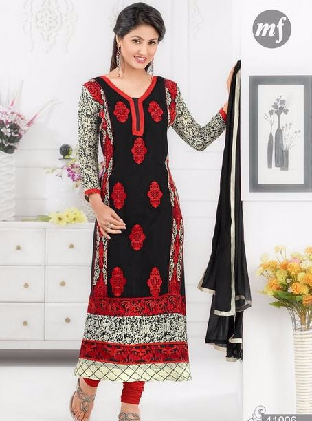 MF 41006 Red & Black Color Georgette Designer Suit