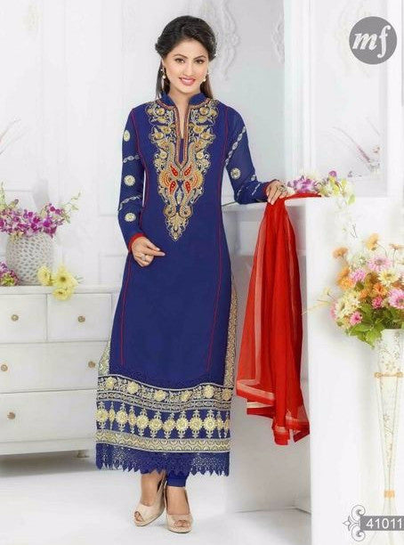 MF 41011 Blue Color Georgette Designer Suit