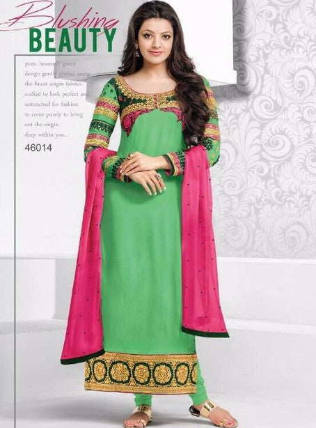MF 46014 Green Color Georgette Long Designer Suit