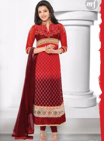 MF 46018 Red Color Georgette Long Designer Suit