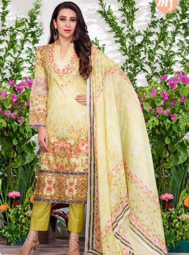 MF 64003 Yellow Color Glazed Cotton Designer Suit