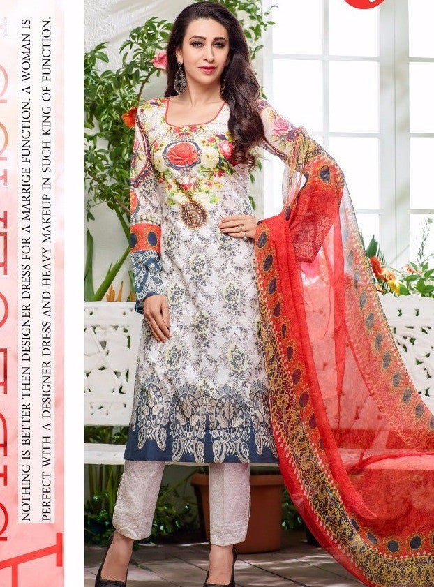 MF 64008 White Color Glazed Cotton Designer Suit