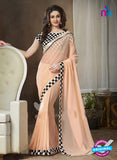 NS11114 Black White and Peach Georgette Designer Saree