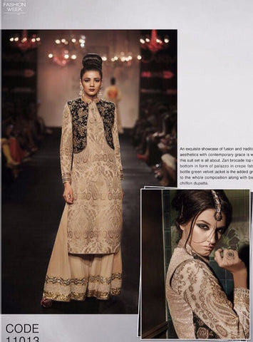 Nakkashi 11013 Beige Color Net/Georgette Long Designer Suit